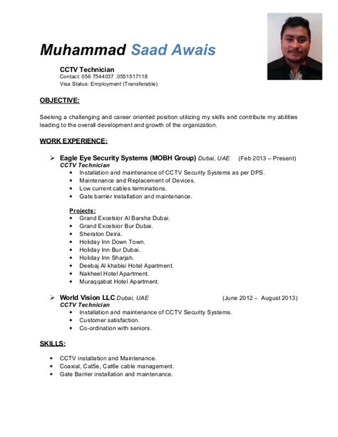 resume format for cctv technician saad resume 1