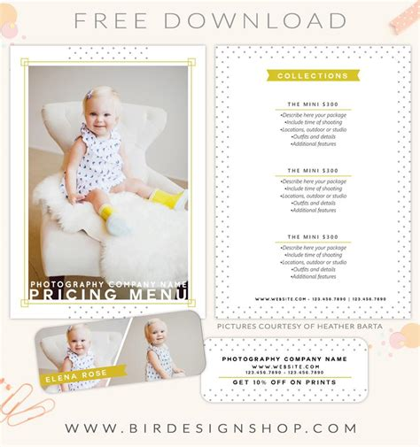 Free Templates For Photographers free pricing menu template birdesign