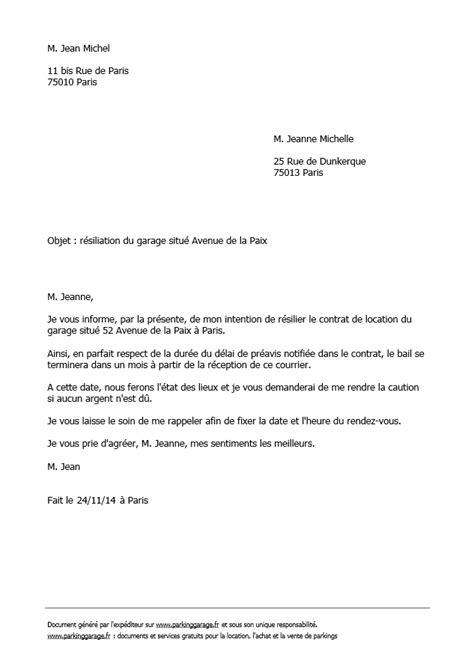 Résiliation bail location courrier fin de bail