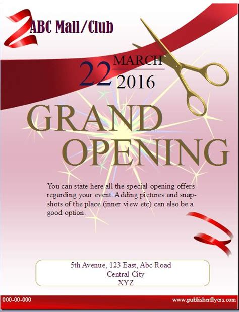 grand opening invitation template free 20 best publisher flyers images on flyer