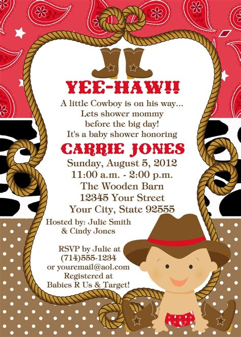 Western Baby Shower by Baby Cowboy Baby Shower Invitation You Print 2 Designs