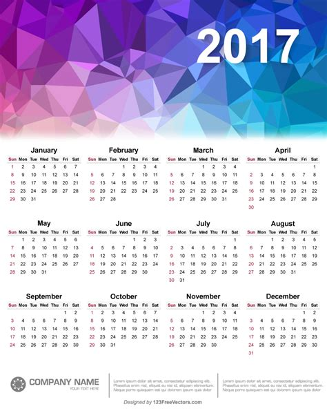 calendar 2017 design 2017 polygonal calendar design vector by 123freevectors on