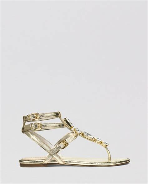 michael kors gold flat shoes michael michael kors flat sandals in gold