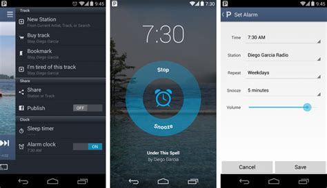 pandora android app pandora s android app gets an alarm clock function right on time