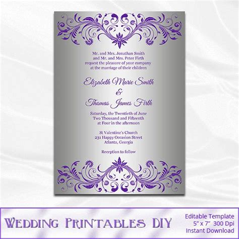 silver foil wedding invitation template diy purple and
