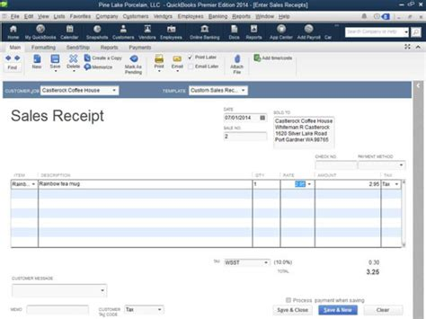 how to change sales receipt template in quickbooks how to record a sales receipt in quickbooks 2014 dummies