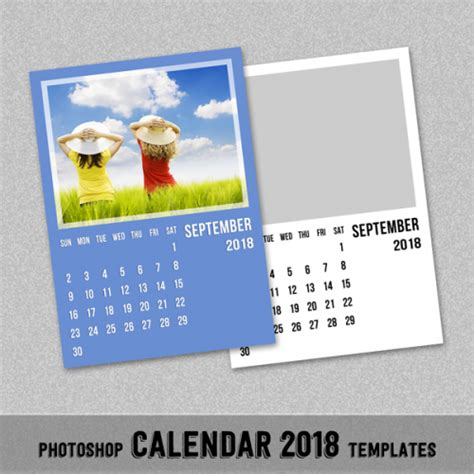 2018 Monthly Calendar Template 5x7 Quot Photoshop Or Photoshop Elements Digitalbazaar On Artfire Photoshop Calendar Template 2018