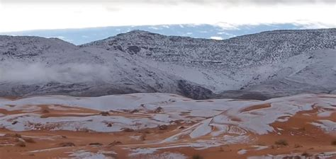 sahara snowfall rare snowfall hits the sahara desert abc news