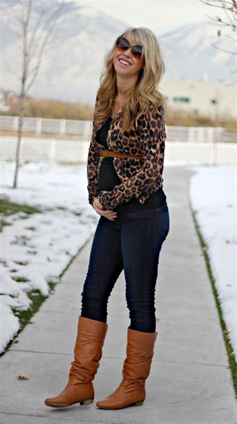 The Knee Boot Stylecrazy A Fashion Diary by S Brown Leopard Cardigan Black Tank Navy