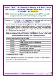 Isms Policy Template by Iso 27001 Information Security Templates Sop Risk Sle