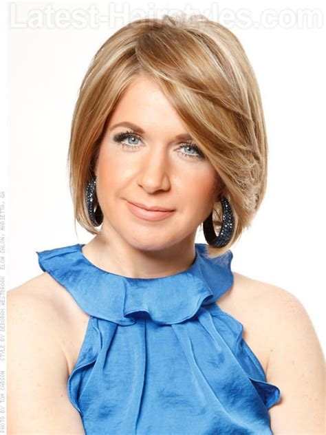 what kind of hair cut keeps hair away from face swept away casual blonde bob with layers fab hair over