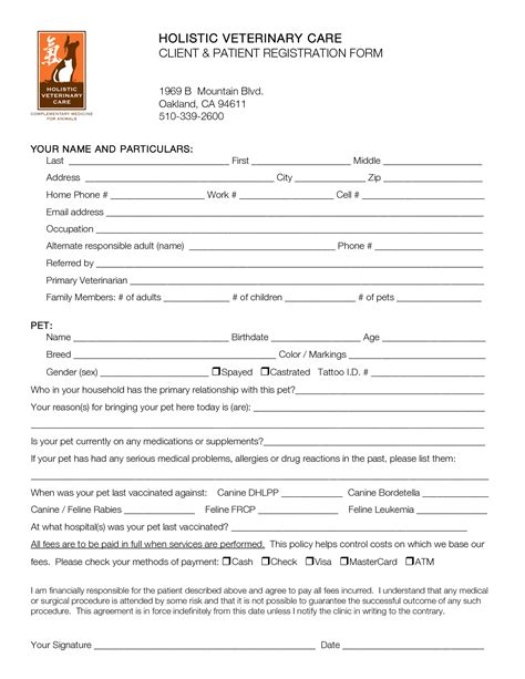 patient registration form template best photos of printable patient registration forms