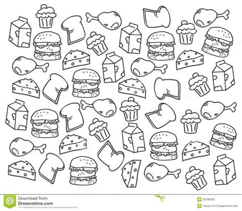 doodle things to draw food doodle draw stock photo image 30789350
