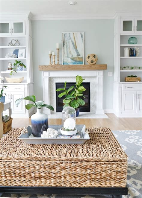 beach decor for home summer blues coastal family room tour sand and sisal