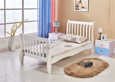 White Wooden Sleigh Bed Foxhunter 3ft Single Wooden Sleigh Bed Frame Pine Bedroom Furniture White Wsb01 Ebay