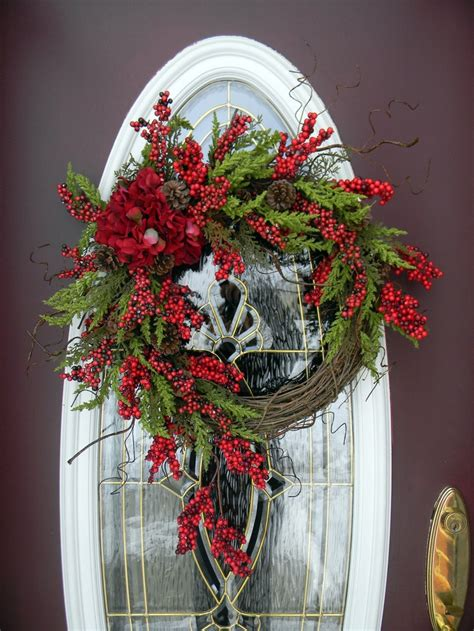 beautiful grapevine door wreath christmas pinterest