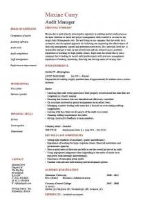 audit manager resume auditing risk exle sle