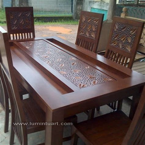Meja Makan Kayu Jati 8 Kursi kursi meja makan pasir set kayu jati jepara ukiran daun