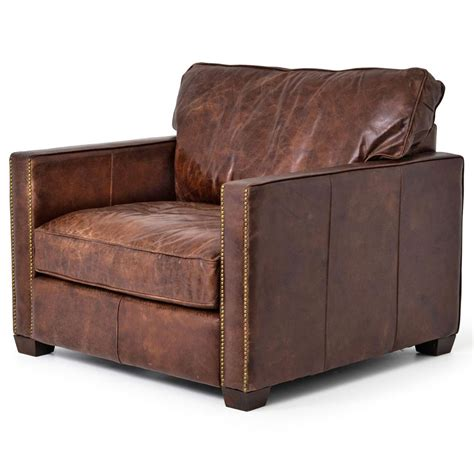 rustic leather armchair hemingway rustic lodge cigar brown leather brass nailhead