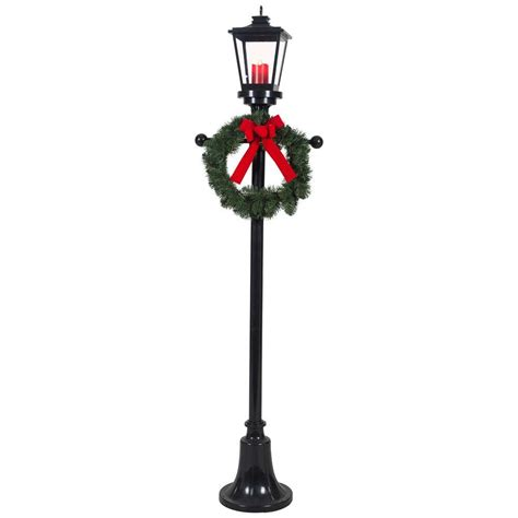 home accents holiday 6 ft lighted l post with wreath