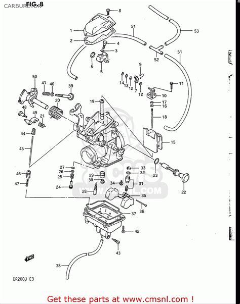 Suzuki Dr200 Parts Suzuki Dr200 1986 1988 Usa Carburetor Schematic Partsfiche