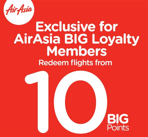 airasia loyalty only today redeem airasia flights with only 10 big points