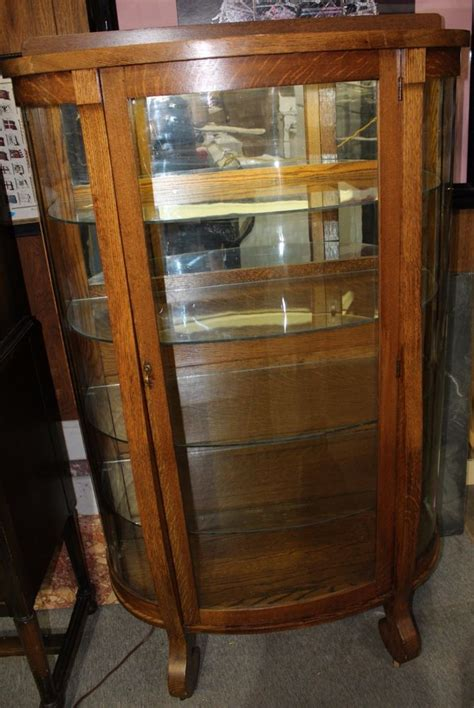 Antique Hingher Furniture Co. Illuminated and Curved Curio Display Oak Cabinet   eBay