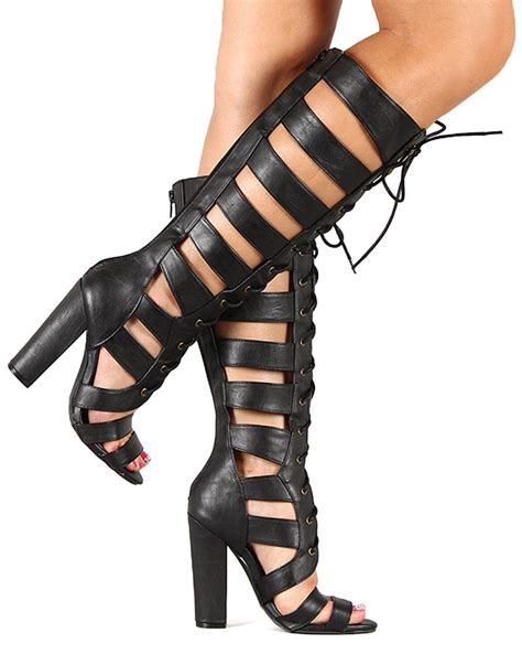 High Heels Sandal Selop Br qupid immortal54 new knee high open toe lace up cage