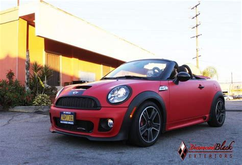 custom mini cooper wrap mini roadster jcw custom matte red wrap i like http