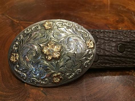 Handmade Western Belt Buckles - bohlin buckle with gold flowers and diamonds handmade