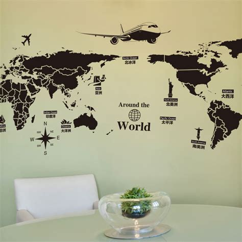 Wallpaper Sticker Travel aliexpress buy large size pvc self adhesive wall stickers creative global travel world map