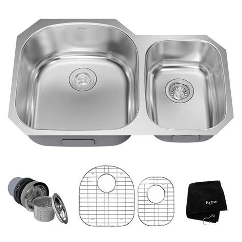 Kraus Stainless Steel Kitchen Sinks Kraus Undermount Stainless Steel 32 In Bowl Kitchen Sink Kit Kbu23 The Home Depot