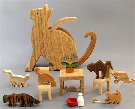 Handcrafted Wooden Animals - kitten and caboodle with wood cat figures wooden animal