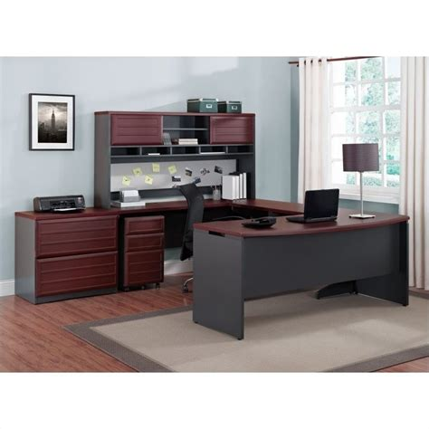 altra furniture pursuit u shaped office set in cherry and