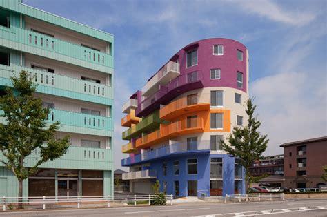 building color schemes ciel rouge creation injects bold colors into okazaki building