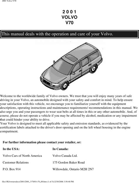 download car manuals 2011 volvo s60 engine control 01 volvo v70 2001 owners manual download manuals technical