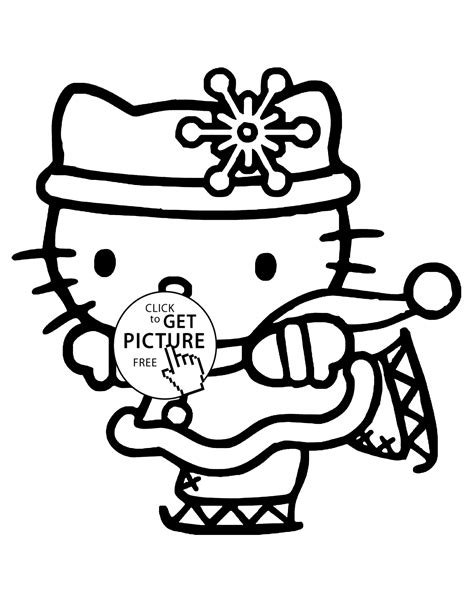 hello kitty winter coloring pages for kids printable free