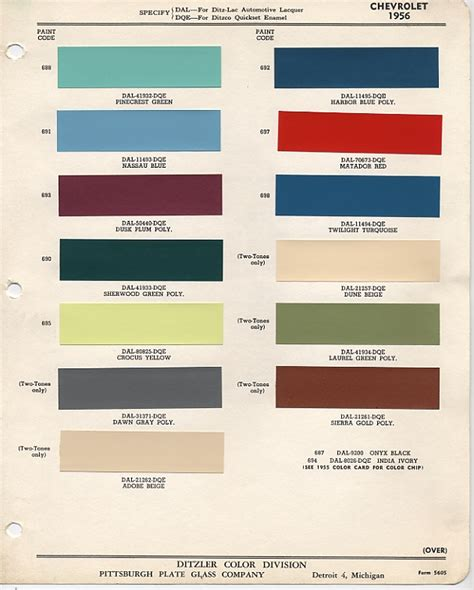 official color code paint thread pics needed trifive 1955 chevy 1956 chevy 1957 chevy