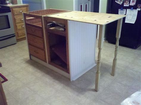 repurposed kitchen island old base cabinets repurposed to kitchen island hometalk