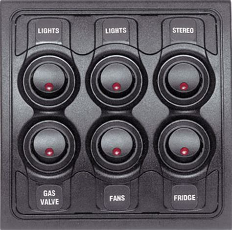other switch bep switch panel 6 way 12v red led