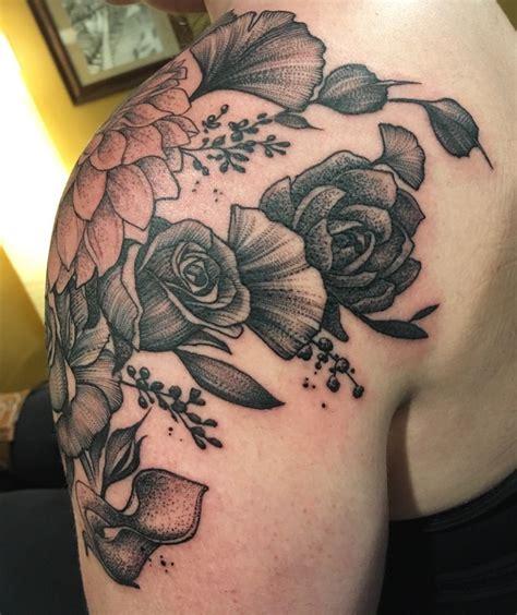 rose tattoo shading blackwork floral dahlia roses ginkgo calla lilies