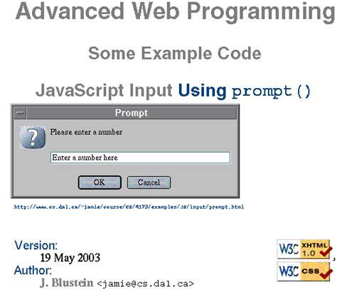 tutorial javascript prompt js input presentation exle for dal cs 4173 web