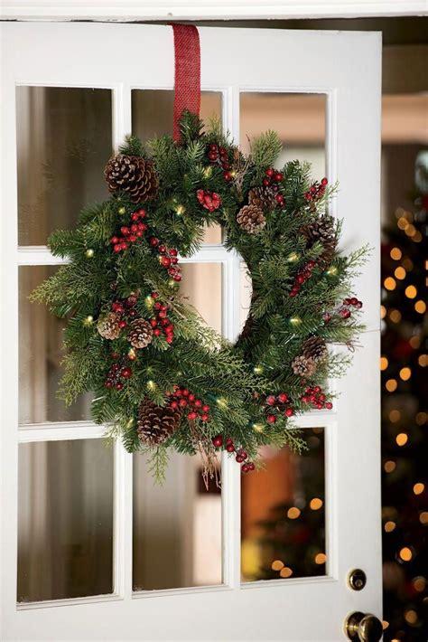 faux pine pre lit outdoor christmas wreath gardenerscom