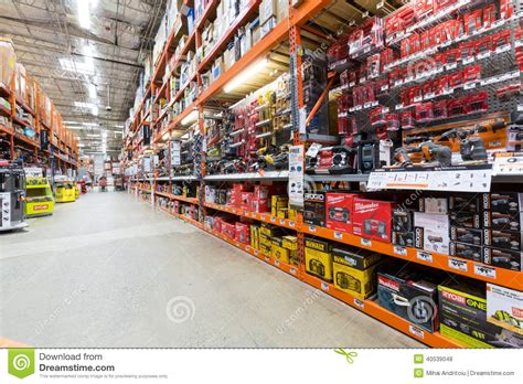 aisle in a home depot hardware store editorial stock photo