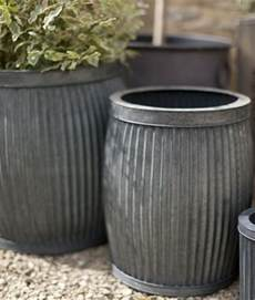 Gray Outdoor Planters Metal Planters With Vintage Feel Set Of 2 Garden Planters
