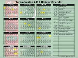 Turkmenistan Calendã 2018 Turkmenistan 2017 2018 Calendar