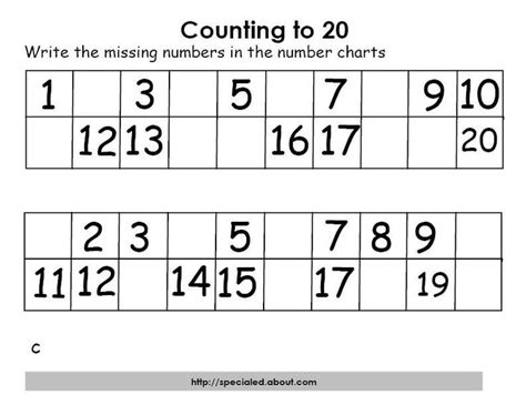 printable worksheets numbers 1 20 math activities for counting to twenty worksheets for