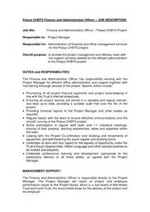 Chief Administrative Officer Description by Finance And Administration Officer Description