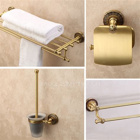 high end antique brass carved 4 set bathroom accessory sets