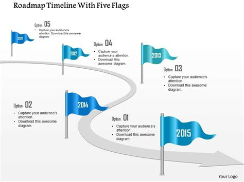 Roadmap Timeline Template Ppt 0115 Roadmap Timeline With Five Flags Powerpoint Template Presentation Powerpoint Images